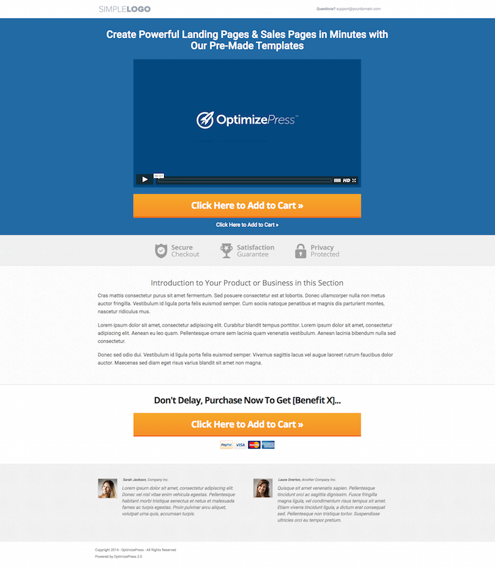 Awesome New Templates In OptimizePress OptimizePress - Sample landing page template