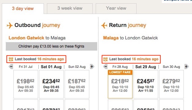 Scarcity with Countdown Timers | Easyjet Last Booked
