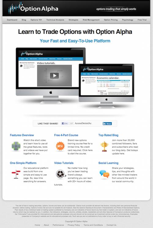 Customer Success Story: Kirk Du Plessis | Option Alpha Landing Page Design