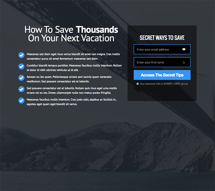 OptimizePress May Club Update | Vacation Landing Page