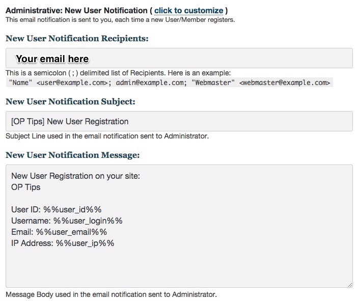 Membership software features for growing a successful website | Email New User Notification