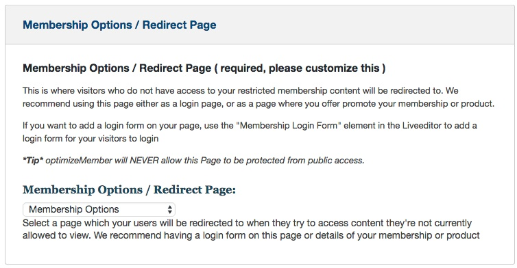 Membership software features for growing a successful website | Protect Content Redirect Page
