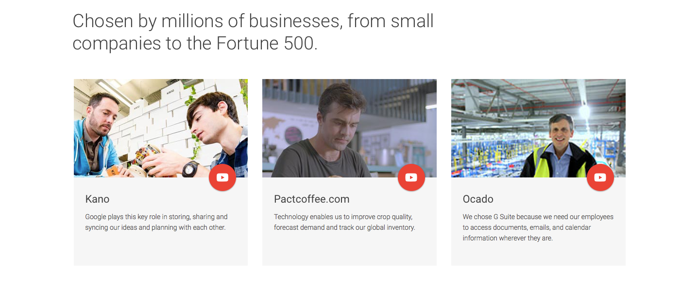 Landing Page Examples from Top Tech Companies   GSuite Features