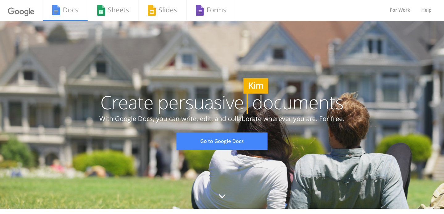 Landing Page Examples from Top Tech Companies | Google Docs