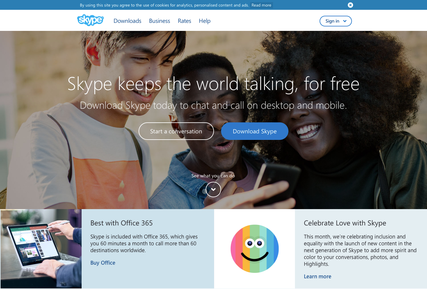 Landing Page Examples from Top Tech Companies | Skype Application