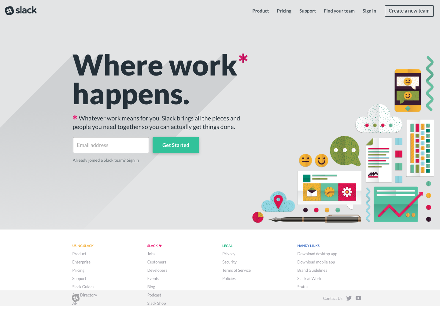 Landing Page Examples from Top Tech Companies | Slack Application