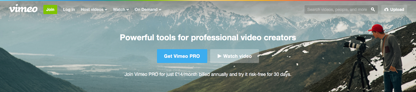 Landing Page Examples from Top Tech Companies | Vimeo Application