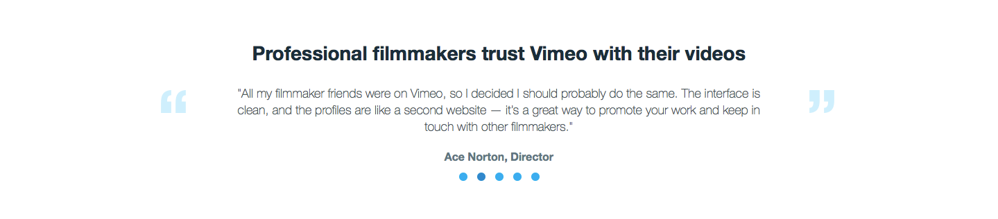 Landing Page Examples from Top Tech Companies | Vimeo Testimonials Section