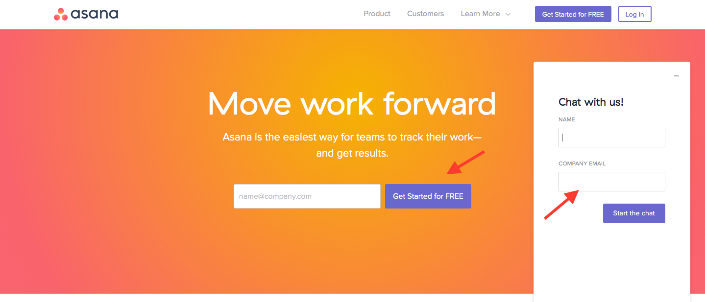 Landing Page Examples from Top Tech Companies | Asana Application
