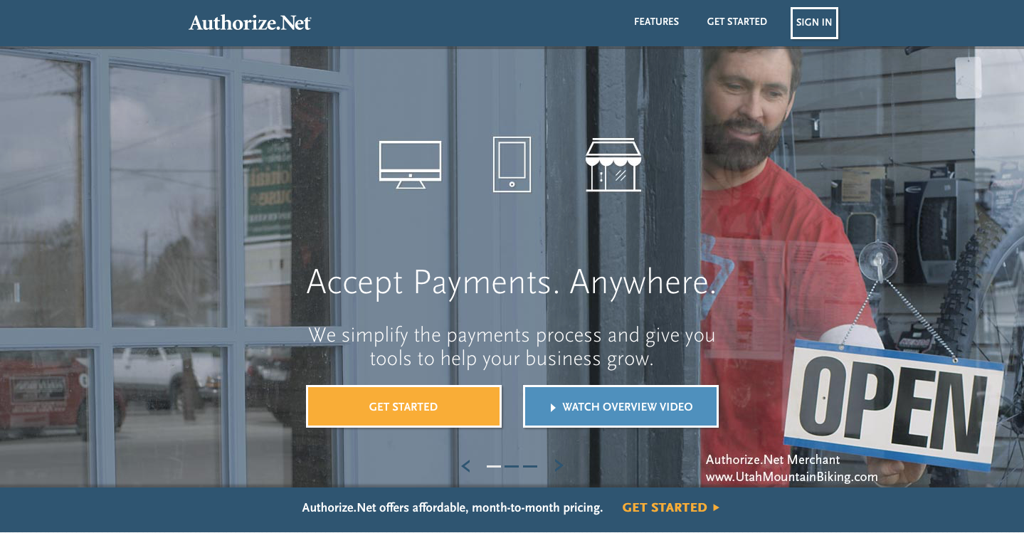 Landing Page Examples from Top Tech Companies   Authorize.net Application