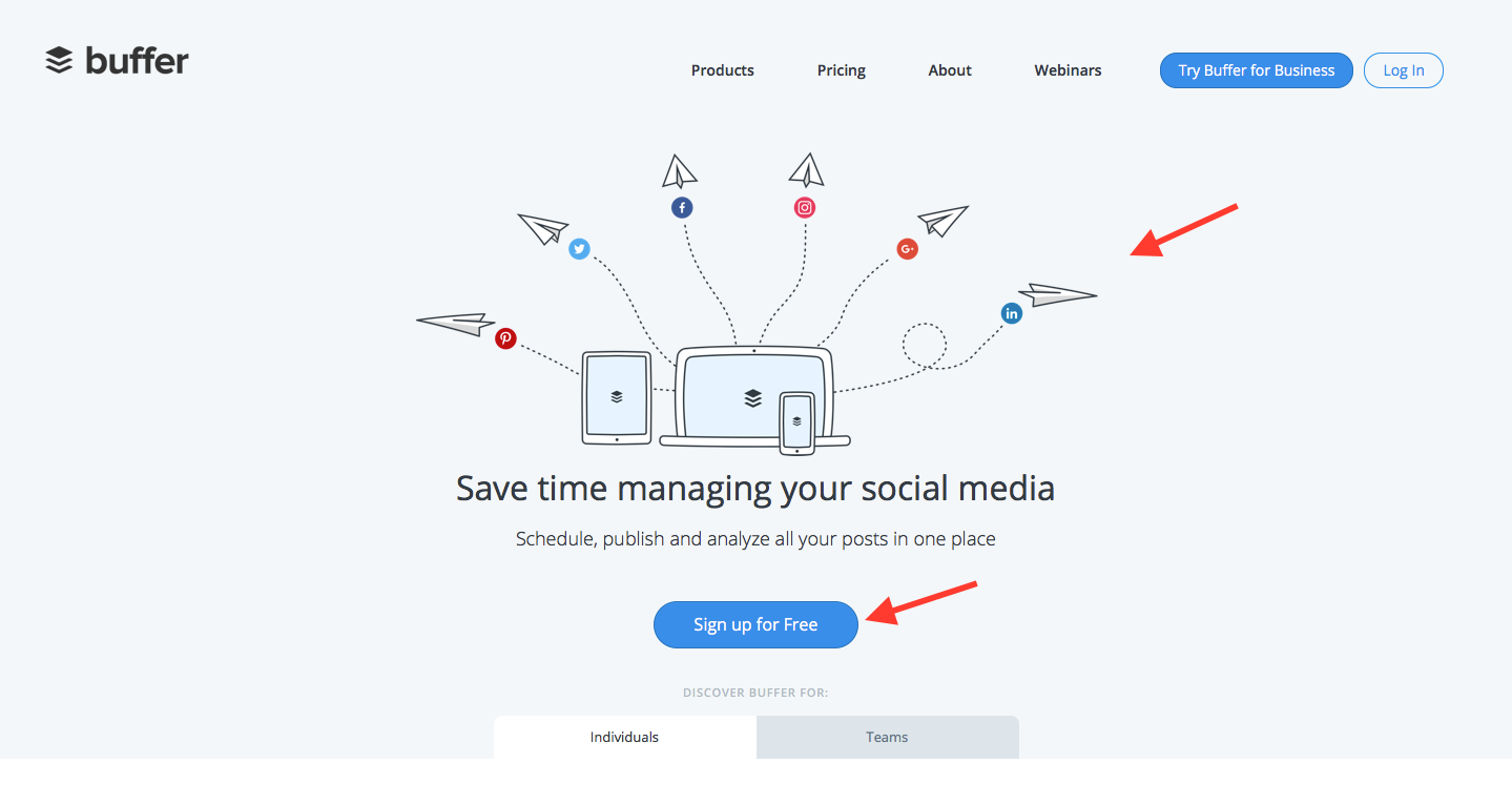 Landing Page Examples from Top Tech Companies | Buffer Application