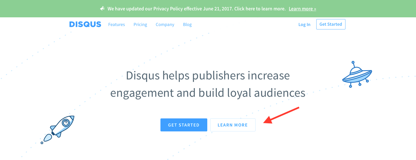 Landing Page Examples from Top Tech Companies | Disqus Application