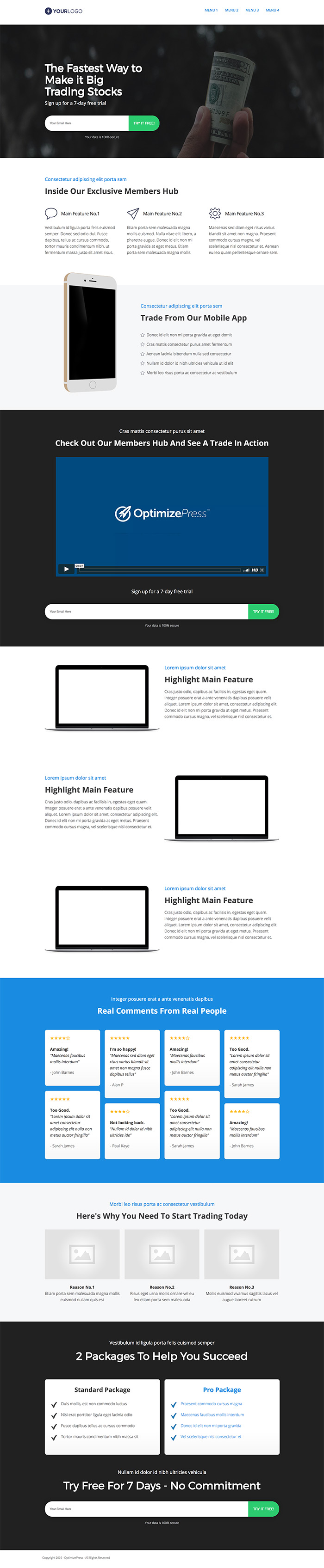 OptimizePress June Template Roundup | Trade Landing Page