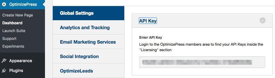 OptimizePress Smart Theme   Insert OptimizePress API Key
