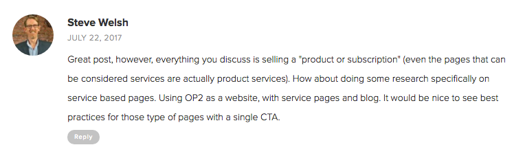 Landing and Sales Page Examples from OptimizePress Customers | Steve Walsh Comment