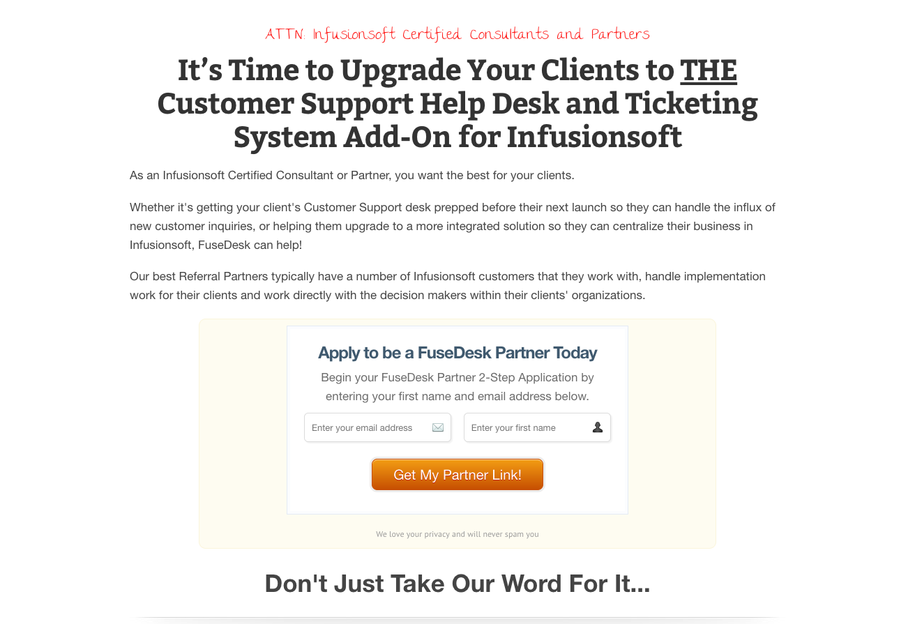 Landing and Sales Page Examples from OptimizePress Customers | Customer Support Landing Page