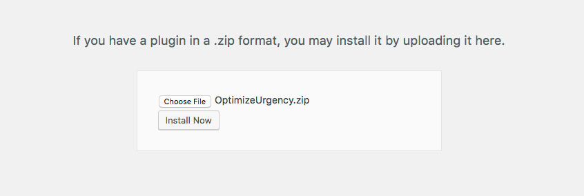 Getting started with OptimizeUrgency | Upload OptimizeUrgency Plugin