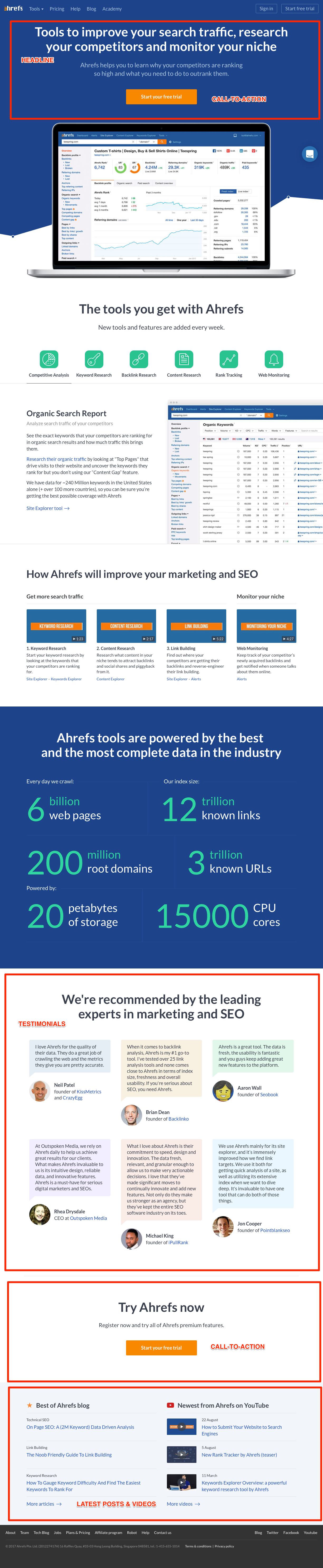 How to build the perfect homepage | Ahrefs Sales Page
