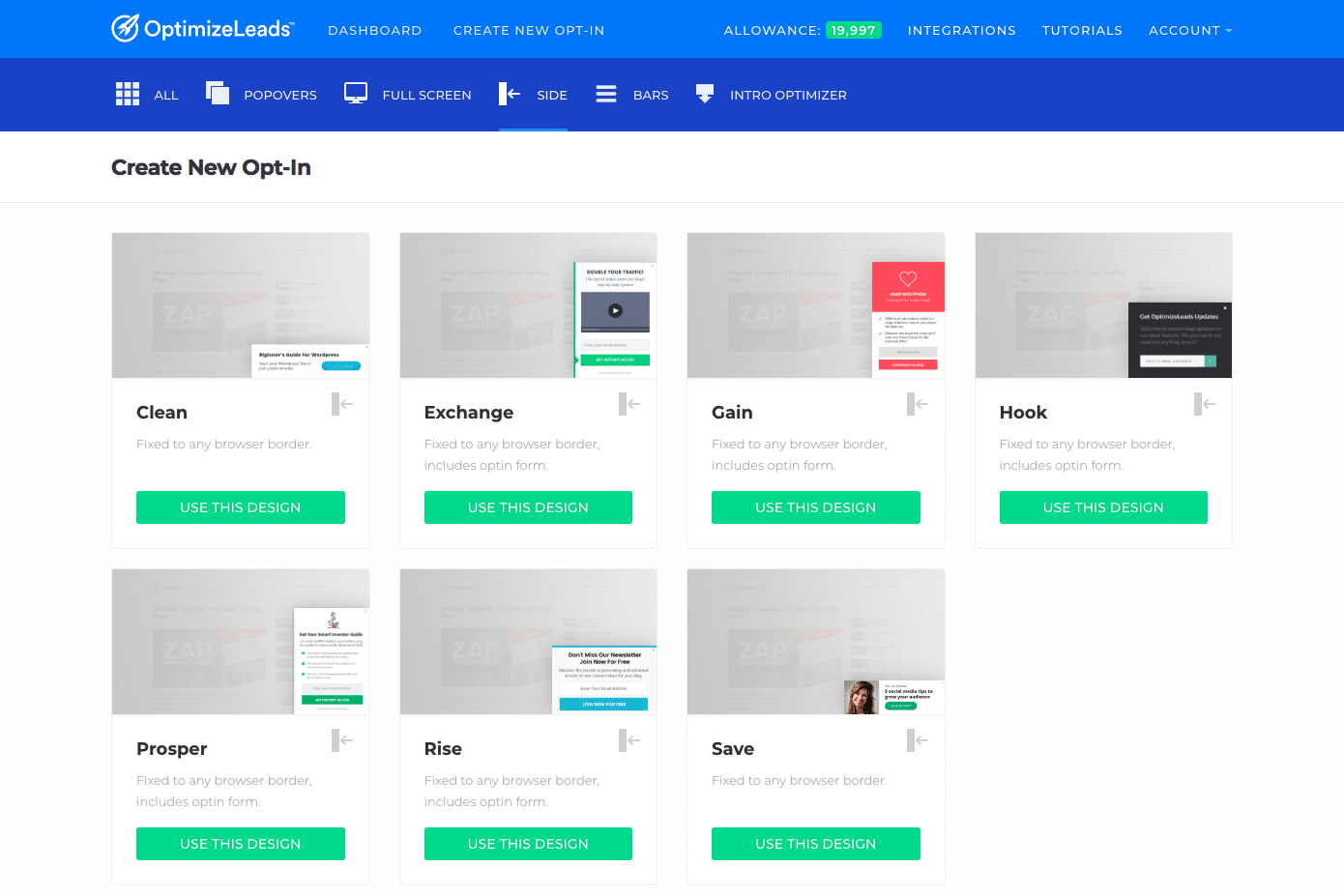 OptimizeLeads new features | Optin sidebar templates