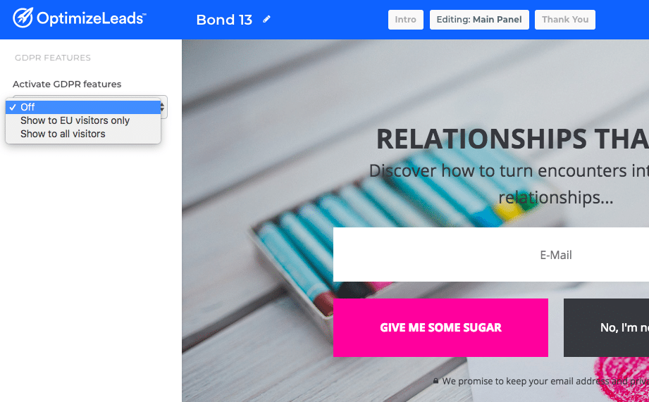 OptimizeLeads new features | GDPR Selection