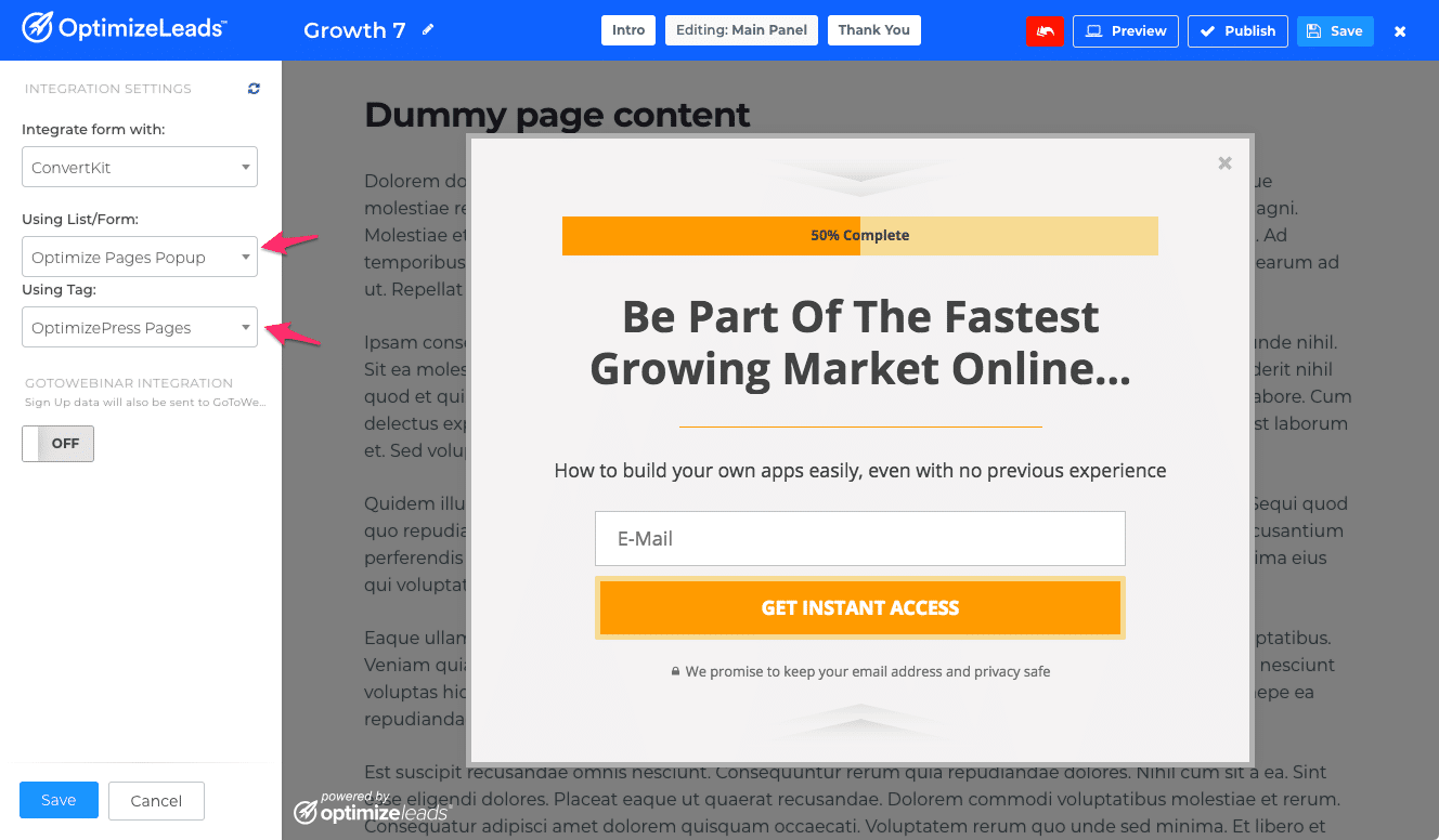 OptimizeLeads new features | Email List Selection