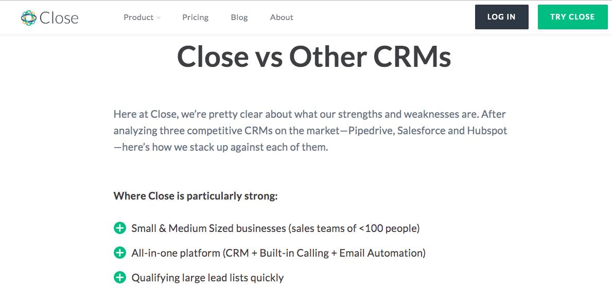 Close.io Vs Other CRMs