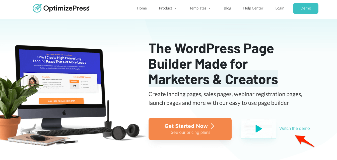 An example of the ghost cta on our OptimizePress homepage