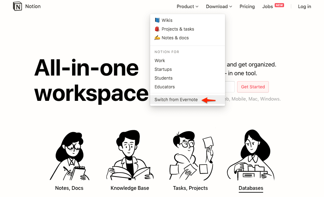 Notion's switch from Evernote example.