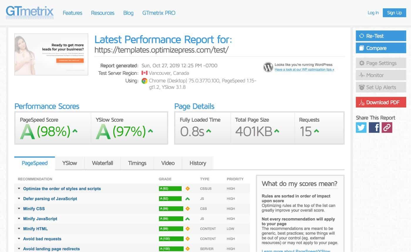 OptimizePress GTmetrix Page Speed Test Results