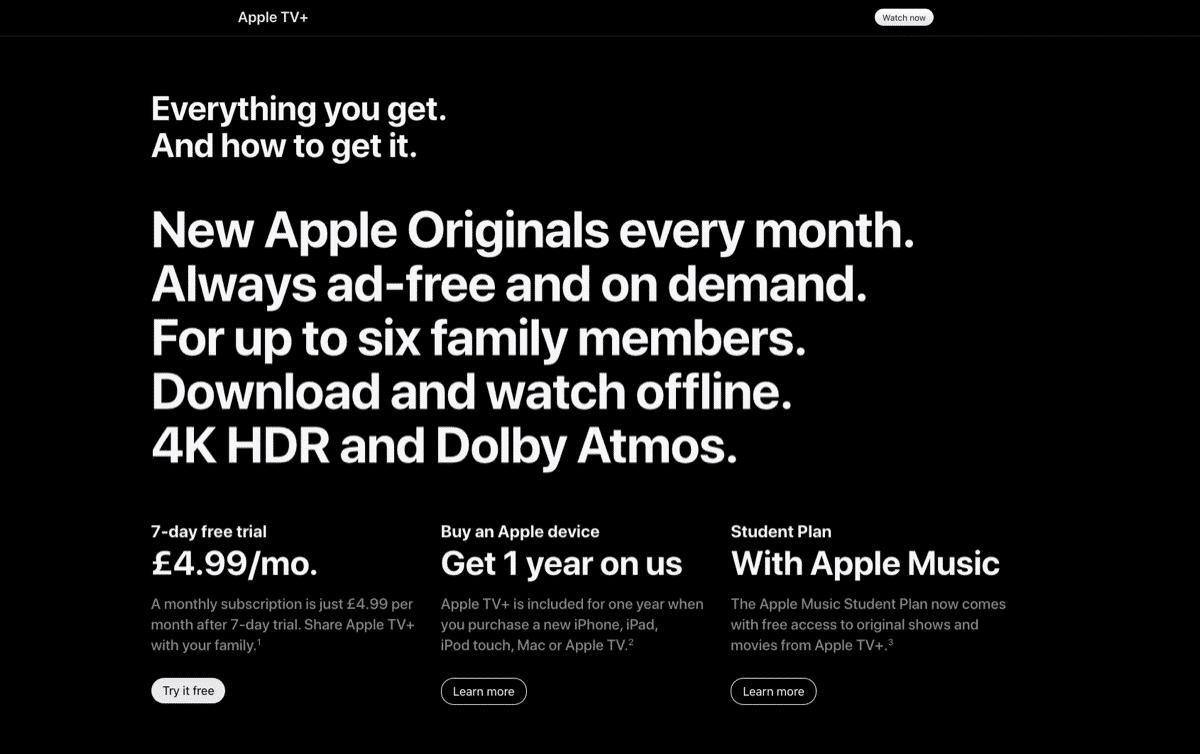 Apple TV+ premium pricing example.