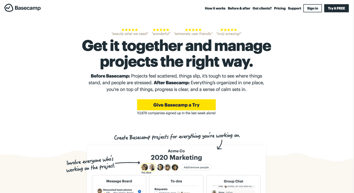 Bold oversized font example from Basecamp.