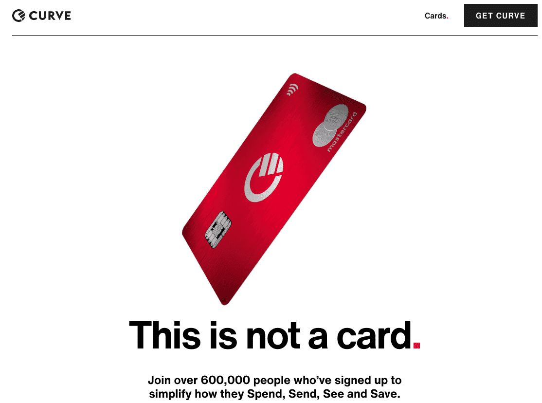 Minimal design from Curve banking startup.