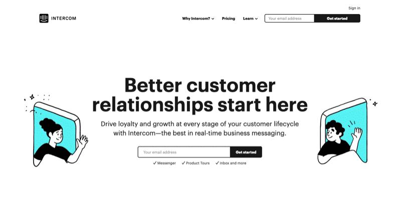 Intercom home page.