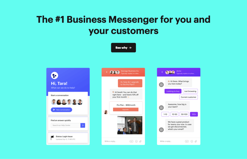 Intercom home page chat example.