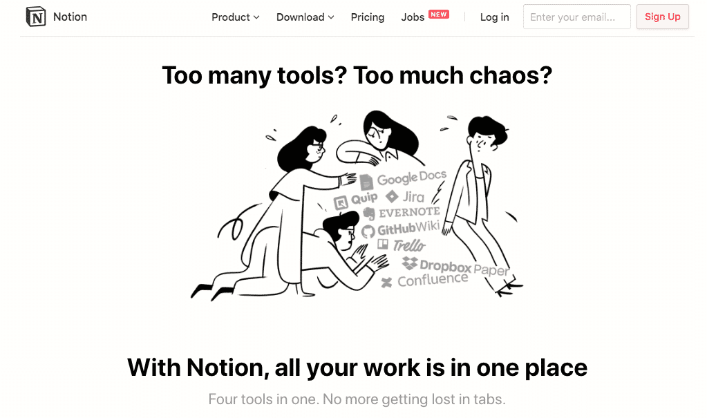 Notion uses illustration to show the overwhelm of using many tools