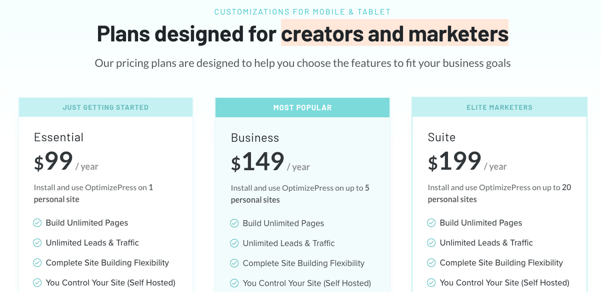 Our own pricing table with highlighted package.