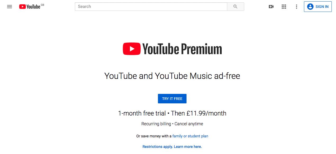 YouTube Premium Pricing