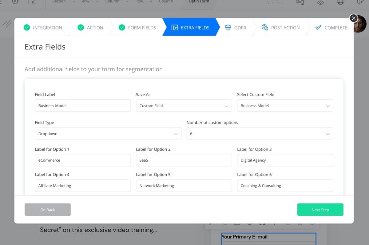 Keap Custom fields integration