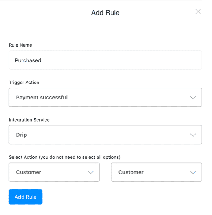 OptimizeCheckout Rules integration with Drip