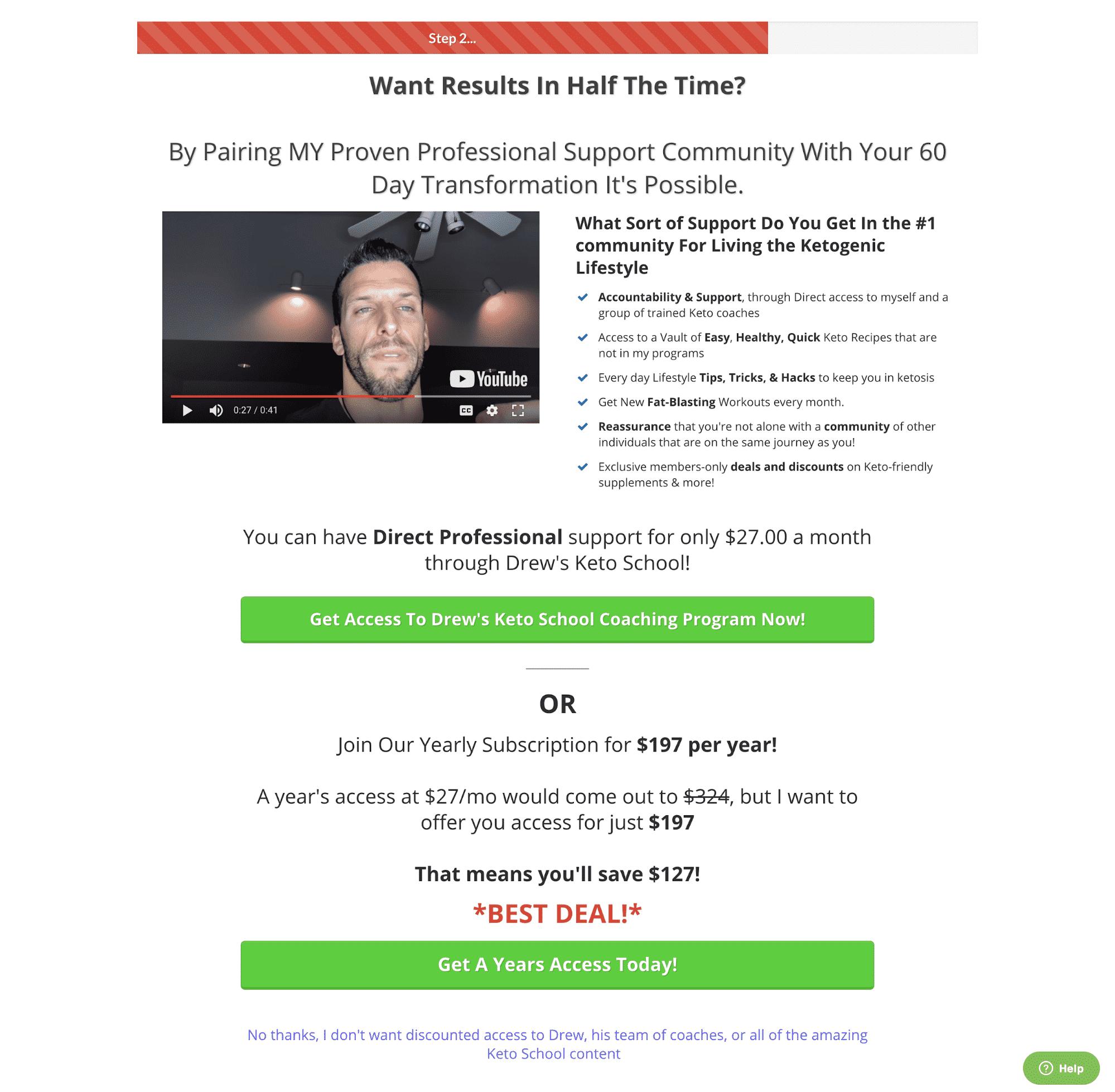 Membership subscription upsell
