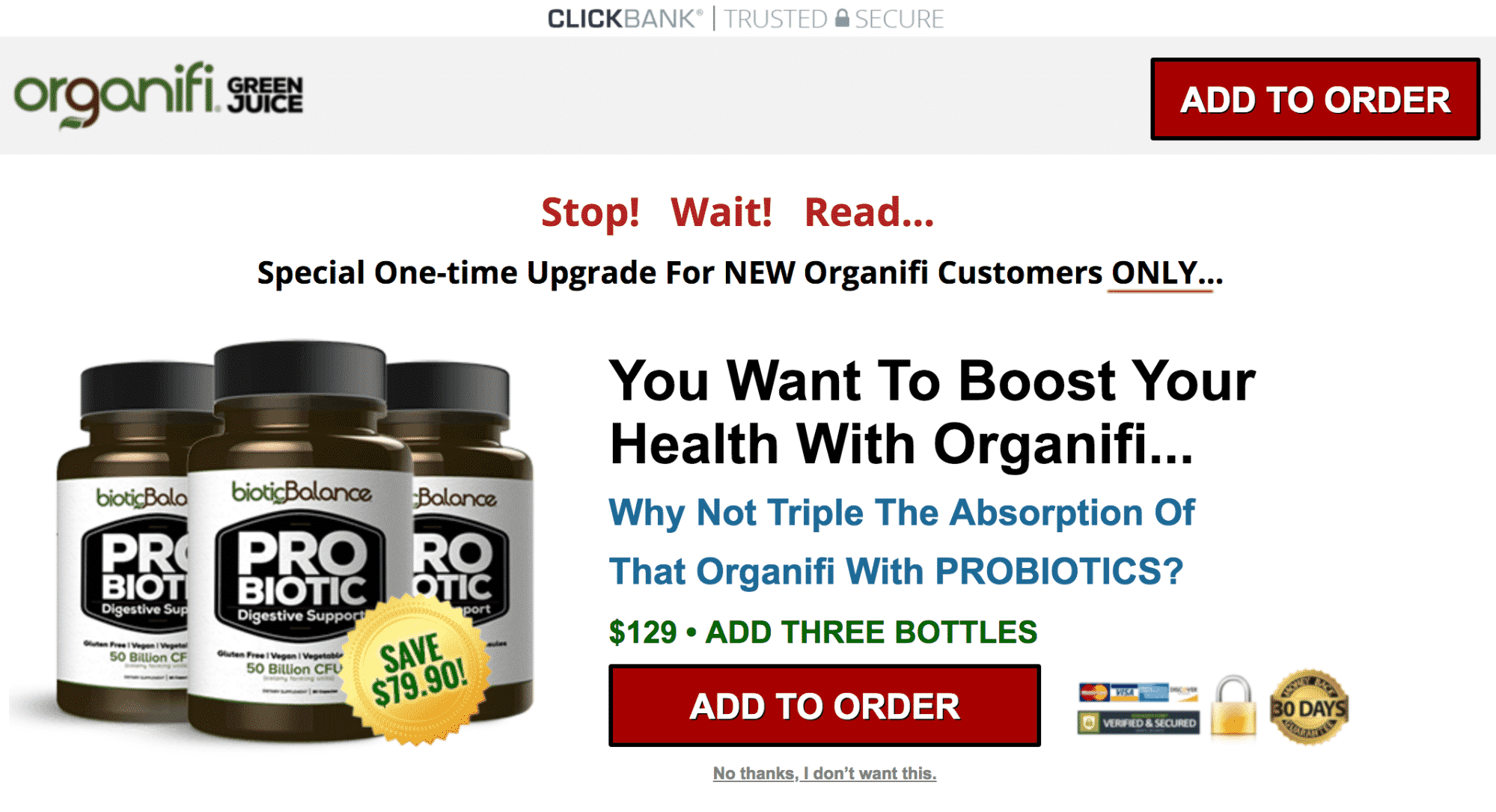 Organifi subscription one-time offer