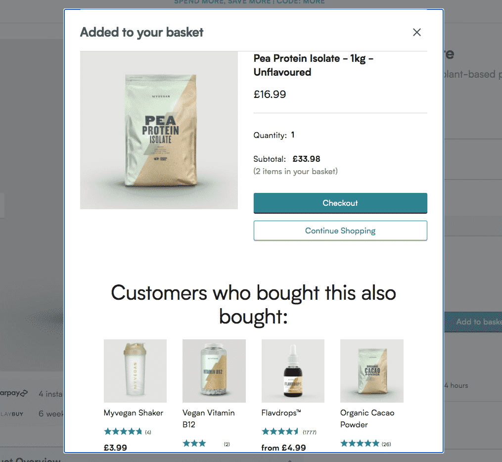 Produt cross-sell example