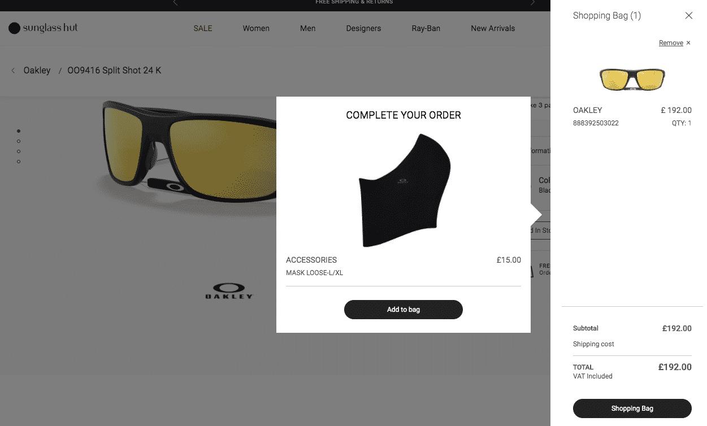 Sunglasses Hut upsell example
