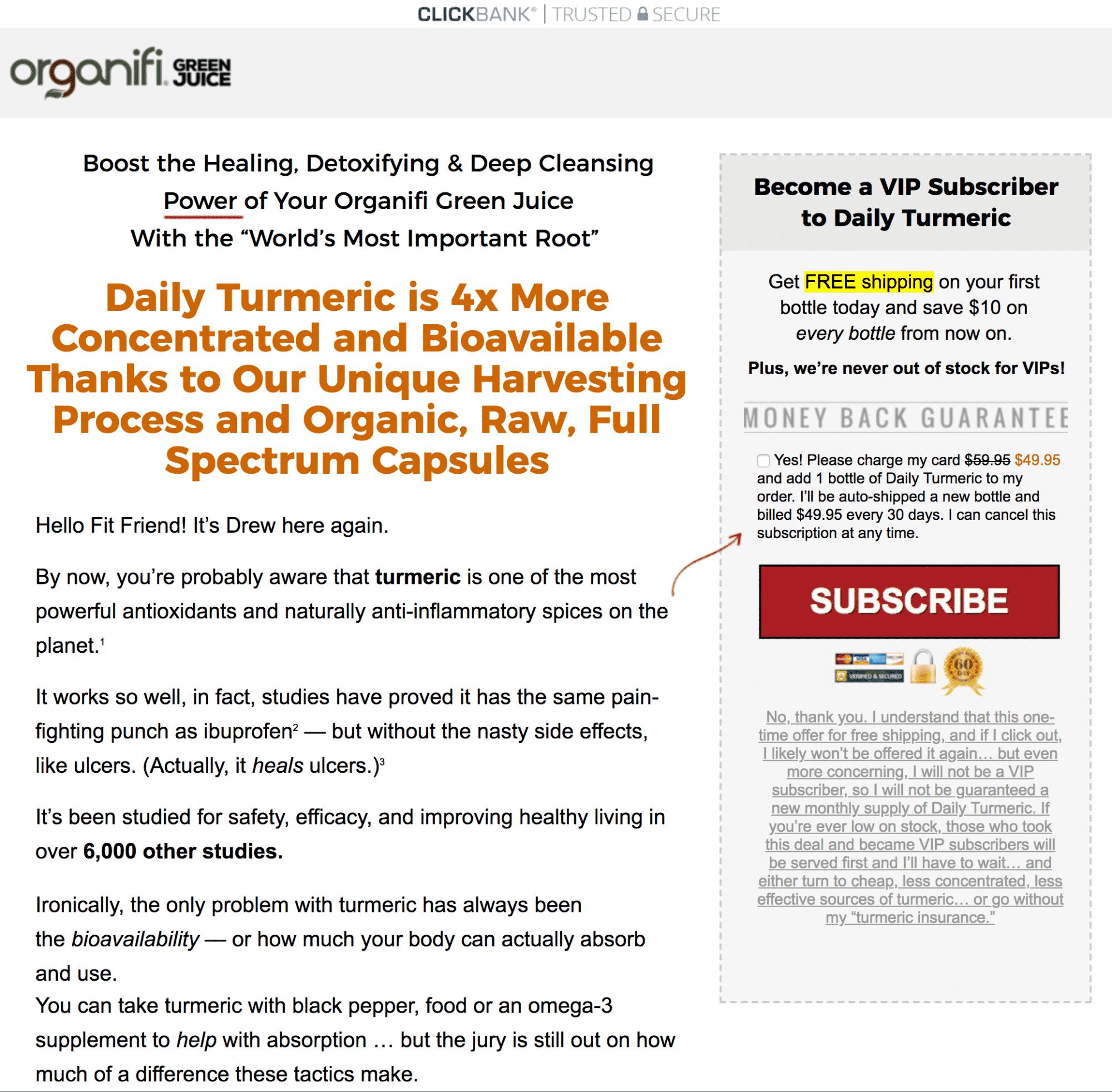 Organifi subscription upsell