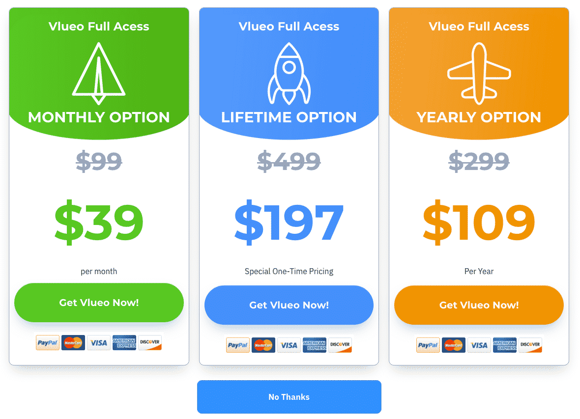 Bold upsell pricing options