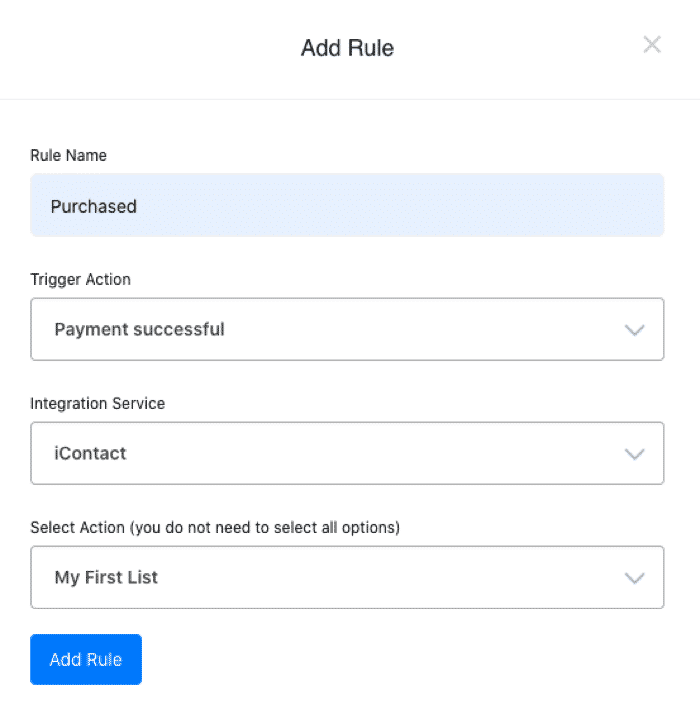 iContact Checkout Rules