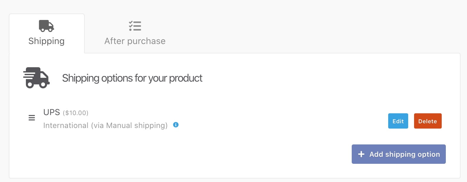Shipping options for your product