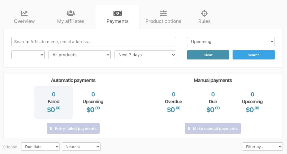 ThriveCart Affiliate Payments screen