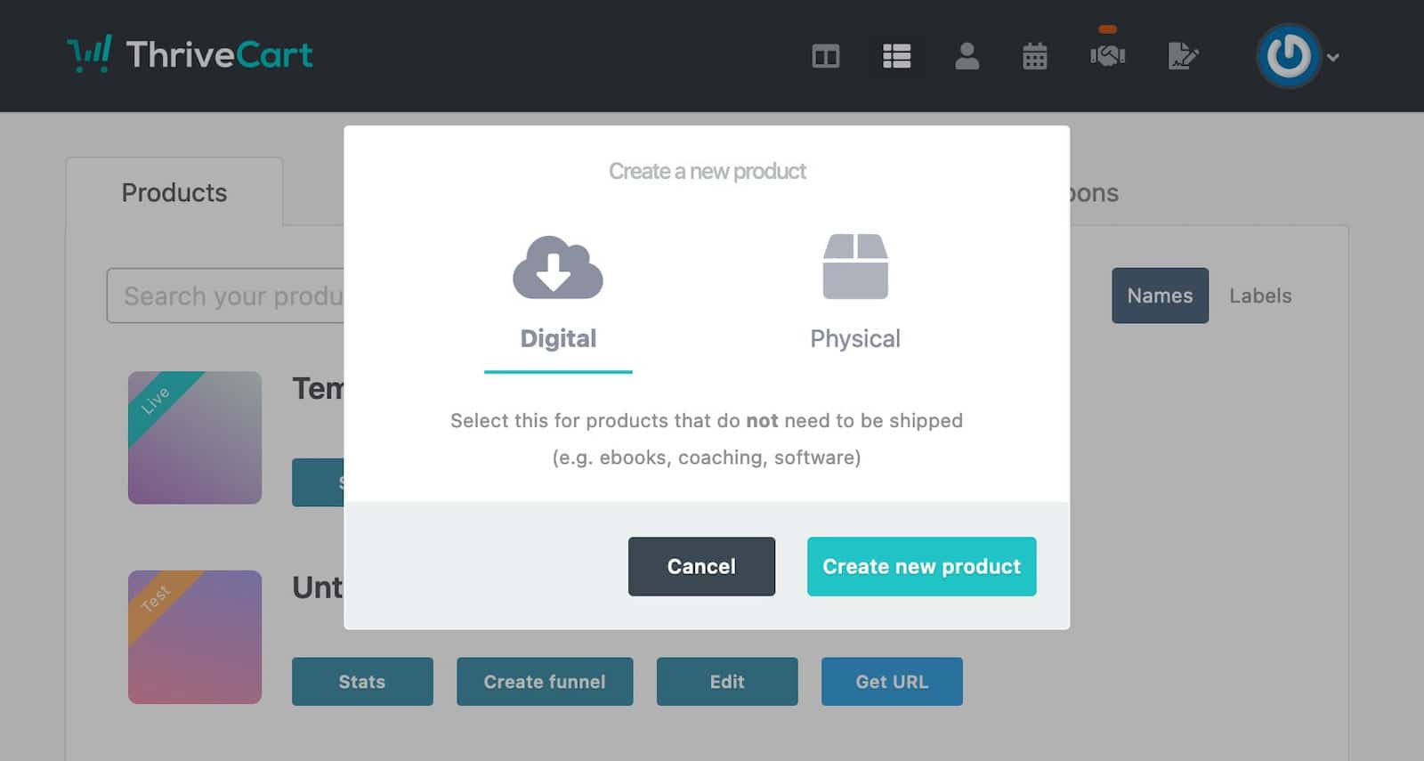 Create new product screen