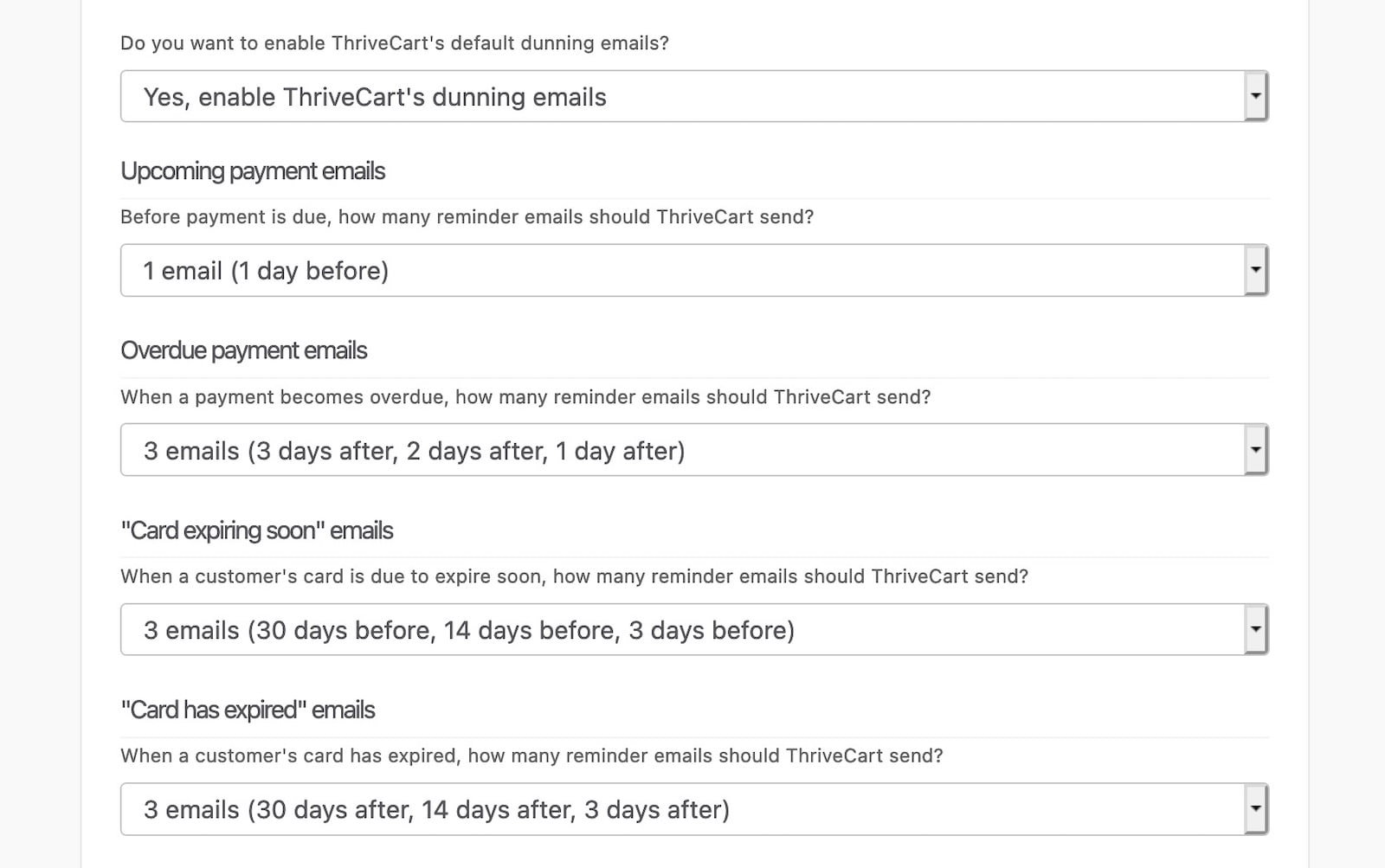 ThriveCart dunning options